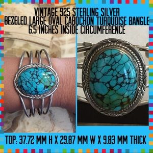 Jewelry - Vintage Sterling JB L Turquoise Cuff Bangle